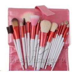 Кисти для макияжа 20 шт. в розовом чехле